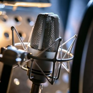 Microphone in studio for professional voiceovers
